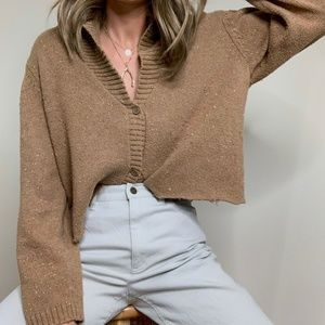 Vintage Redone Textured Knit Cardigan Crop Sweater